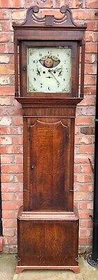 Antique Mahogany Rolling Halifax Moon Longcase Grandfather Clock