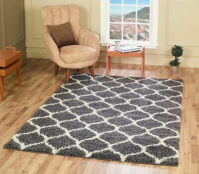 Soft Fluffy Shaggy Rugs Dark Grey Trellis Pattern Area Carpets Non Shed 5cm Pile