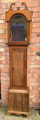 Antique Inlaid Oak & Mahogany Cross Banded Longcase Grandfather Clock CASE