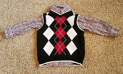 Boys 18 m Children's Place long-sleeve red/black plaid shirt/argyle sweater vest