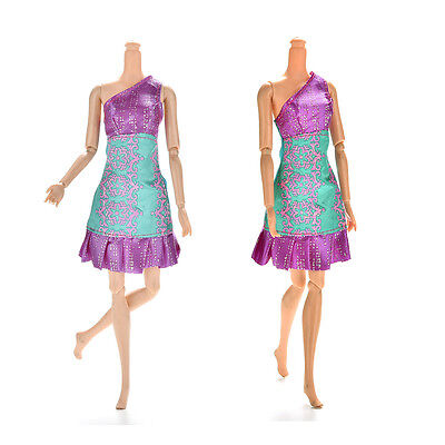 1Pc Purple and Green Single Shoulder Dresses for s Princess Dolls14cmVG
