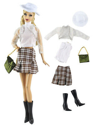 6in1 Set Fashion Outfit Coat+vest+skirt+bag+hat+boots for 11.5 in. Doll d13