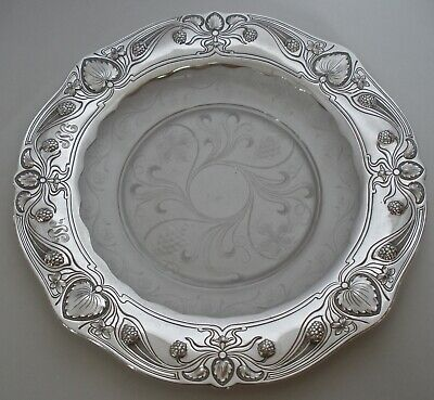 """Gorham Athenic Sterling & Hawkes Cut Glass Art Nouveau 9"""" Plate Or Tray 1905"""
