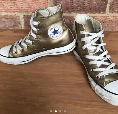 Womens Converse Trainers, Gold Leather, Uk Size 4, Chucks