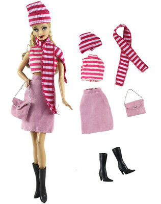 6in1 Set Fashion Outfit Top+skirt+hat+scarf+bag+boots for 11.5 in. Doll d15