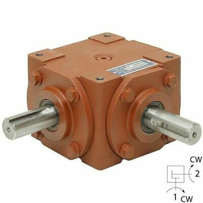 Right Angle Bevel Gearbox with 2 Keyed Shafts 40 HP CW/CW 1:1 FREE SHIPPING