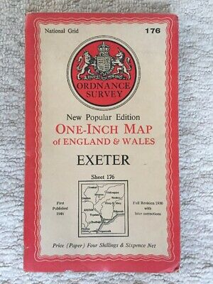 Vintage Original Ordnance Survey OS One Inch Paper Map #176 Exeter Publ.1950s