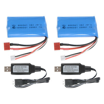 1pc/2pcs 7.4V 1500mAh Rechargeable 18650 Batterie +USB Charger for WLtoys 12428