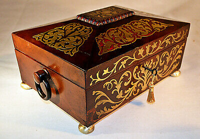 Regency Sewing Box with inlaid brass decoration and Key, circa 1825