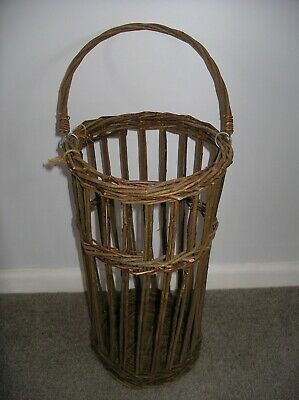 Super Vintage Boho Wicker Umbrella Stick Stand Basket 45cm tall 23cms diameter
