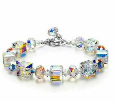 Fashion 925 Silver Mystic Rainbow Topaz Bracelet Snake Bangle Women Jewelry Gift
