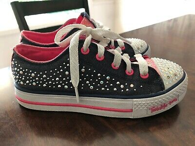 Skecher Twinkle Toes  Limited Edition Black Denim Size 2.5 Youth Light Up