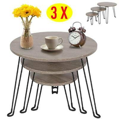 Scandinavian Nest of 3 Coffee Tables Round Brown Wooden Side End Lamp Sofa Desk