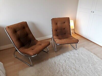 Pair of vintage 60's/70's mid-century tubular chrome framed lounge chairs. Retro