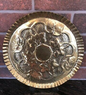 Art Nouveau Arts and Crafts Brass Tray Crimped Edge Hammered Decoration 32cm