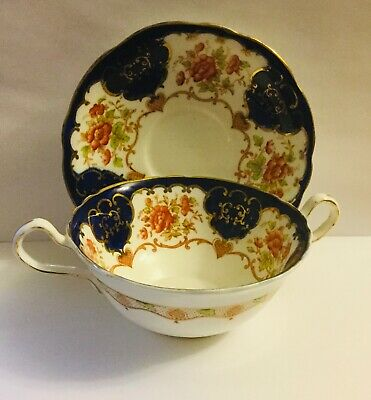 Antique Aynsley Double Handled Rare Pattern Tea Cup And Saucer * Cobalt