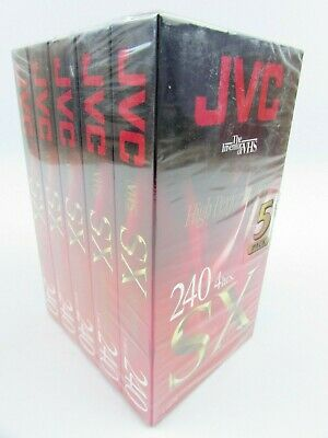 5 x JVC SX 240 Blank VHS Video Cassette Tapes 240 minutes 4 Hours PAL Sealed New