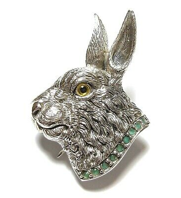 Stunning Modern Victorian Style Silver Hare Brooch Emerald Green Stones