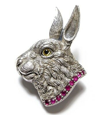 Stunning Vintage Or Modern Silver Hare Brooch / Pendant Set With Rubies