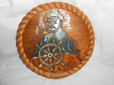 Vintage Folk Art Nautical Maritime Carved Wall Hanging ~ Oil On Wood Rope Border