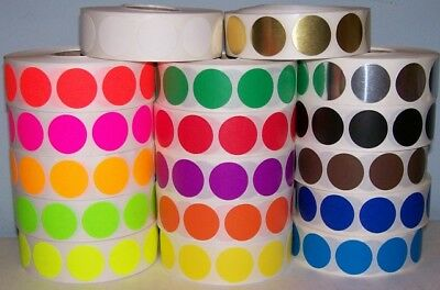"""1/2"""" CIRCLE COLOR CODED LABELS 20 Rolls Ea. Red, Lite Blue, Neon Green 1000 rl"""