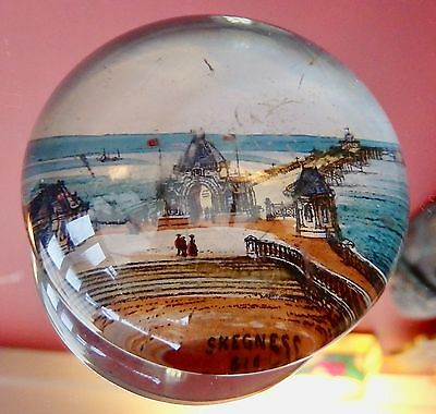 Rare Antique Victorian Glass Paper Weight Paperweight Skegness Pier 1880s