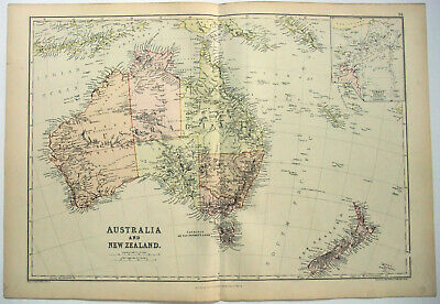 Original 1882 Map of Australia & New Zealand by Blackie & Son. Antique