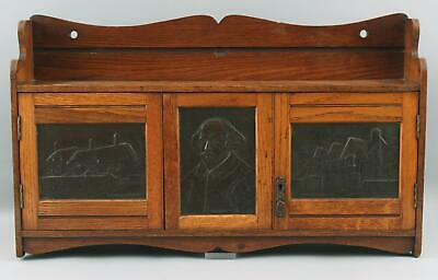 Antique Shakespeare Arts Crafts Pipe Tobacco Cupboard + Inkwell Writing Cabinet