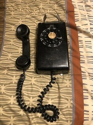 Vintage Black Bell System Western Electric Rotary Wall Phone Metal Dial G1