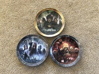 Lord Of The Rings Collector Plates X3 Bradford Exchange Linites Edition Rare
