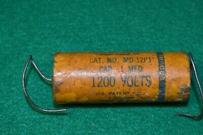 Cornell Dubilier Blue Tiger .1 uF 1200 Vdc Audio Receiver Tone Wax NOS Capacitor