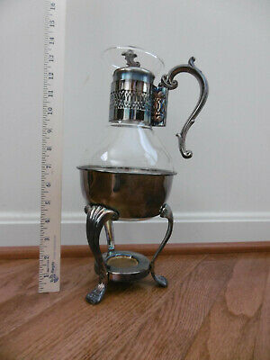 F.B. Rogers Silverplate Glass Tea/Coffee Warmer
