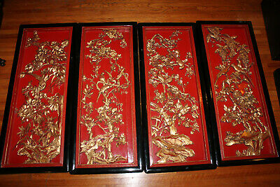RARE LARGE ANTIQUE 19C CHINESE HAND CARVED 4x PANEL SET GOLD GILDED LACQUER SET