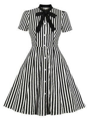 Dress Striped Black and White, Collar Pussy, Vintage Gothic