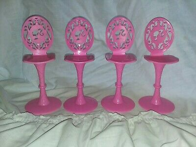 Barbie Furniture 4 Pink High Back Stools Chairs Life In Dreamhouse