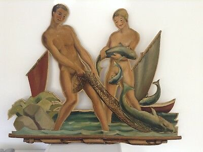 Large 4 ft Panel Painting Oil Vintage 1940s 1950s Man Woman Nude Fishing 3D Huge