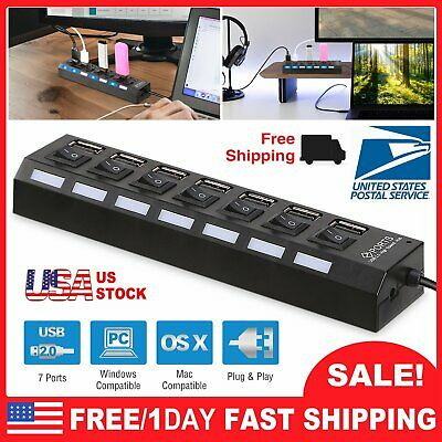USB 2.0 7-Port Multi Charger Hub +High Speed Adapter ON/OFF Switch Laptop/PC