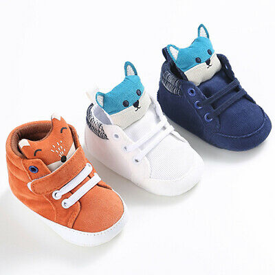 AU_ Toddler Baby Boys Girls Fox Cat Animal Soft Sole Prewalkers Sneakers Shoes B