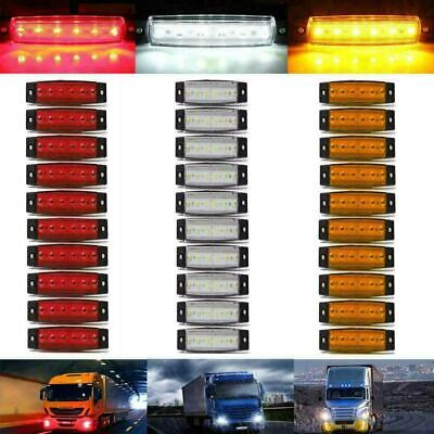 30Pcs LED Side Marker Light White Yellow Red 12V 6 SMD Position Truck Trailer UK