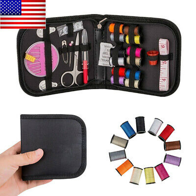 Portable Travel Sewing Kit Box Needle Threads Scissor Home DIY Handwork Tool US