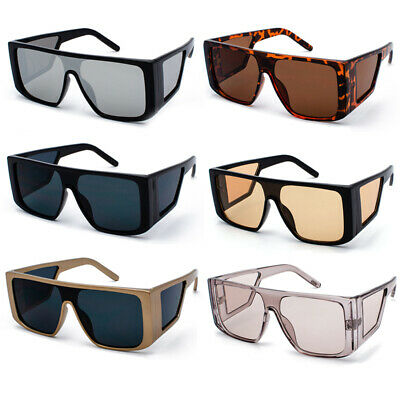One Piece Large Side Shield Sunglasses Oversized Square Flat Top Shade Glasses