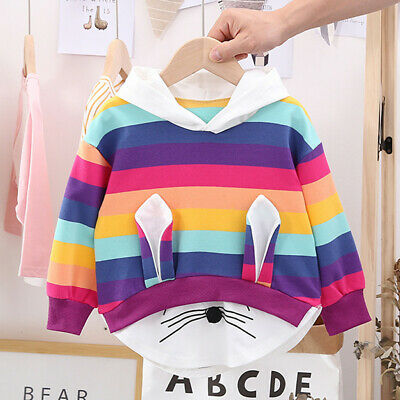 Toddler Kids Baby Girls Striped Rainbow Cartoon Hooded Sweatshirt Coat Tops Cute