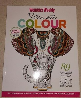 The AWW Relax with COLOUR - third edition - 89 animal drawings to colour in  NEW