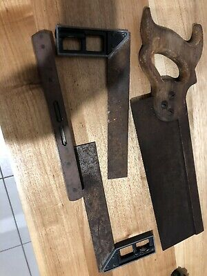 Vintage Hand Tool Lot , Level , Squares ,Brace Saw