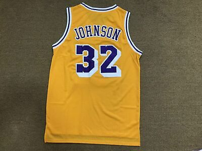 Magic Johnson #32 Los Angeles Lakers Men's Throwback Gold / Purple Jersey