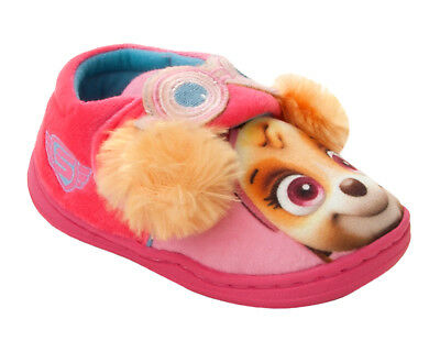 Girls Official Paw Patrol 3D Skye Character Pink Slip On Slippers Uk Size 5-10