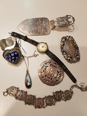 Mixed Job Lot VINTAGE  Silver Jewellery watch and brooch plus other metals