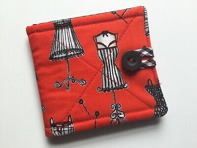 needlecase fabric Red dress forms Felt page inside Gift Present Needles Book New