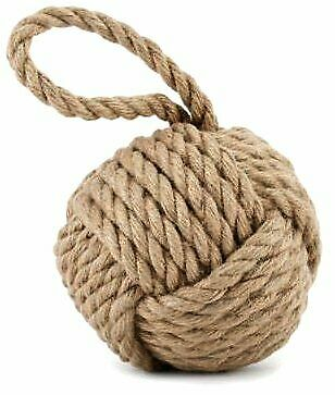 Nautical Weighted Natural Rope Ball Doorstop - New Home Gift Idea - Friends Gift