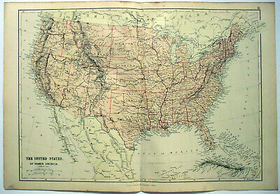 Original 1882 Map of the United States by Blackie & Son. Antique. USA